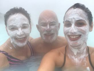 Sulfur masks in the Blue Lagoon, Iceland