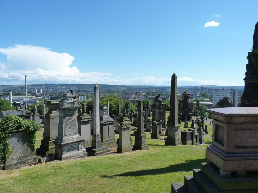 Glasgow Necropolis. One of the famous European cemeteries.