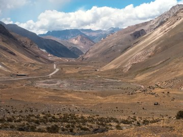 views crossing the Andes by bus