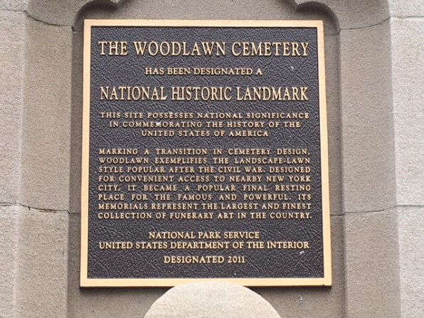 Woodlawn plague on one of the most famous cementeries in the U.S.