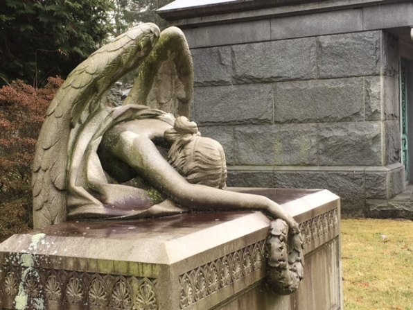 crying angel in Woodlawn, one of the famous cemeteries in the U.S.