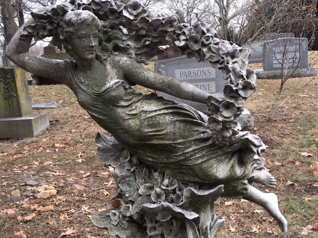 Flying angel in Woodlawn, one of USA's famous cemeteries