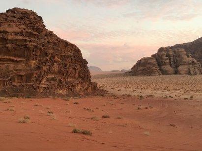 Red mountains at Wadi Rum camp