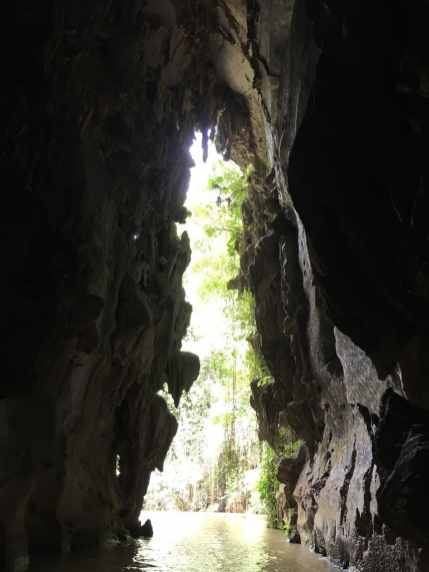 Emerging from the cave in Vinales, Cuba