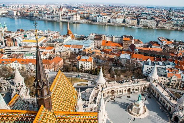 Aerial view of Matthias Church in Budapest