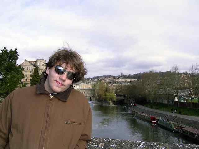 My son Wes on Pultenoy Bridge, the River Avon