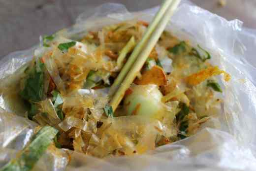 Vietnamese street-food salad Banh Trang Tron