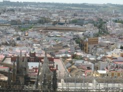Looking down from La Giralda in Sevilla: the bull ring