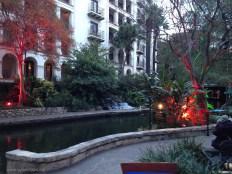 Riverwalk lit up trees