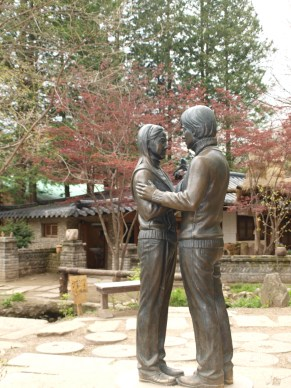Bronze statues of the actor & actress from Winter Sonata
