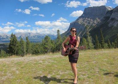 Singing at Rundle Mountain