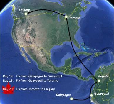 Map flight Galapagos to Canada