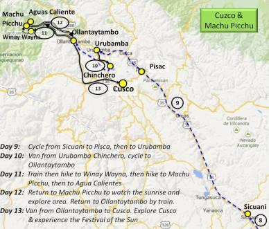 Map Peru Cycling Hiking