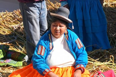 Uros woman of Peru's floating reed islands