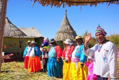 Uros people on floating islands Lake Titicaca Peru