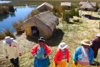 Uros people on Lake Titicaca's floating Islands