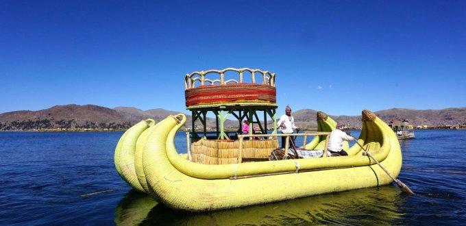 Reed boat on floating island Peru