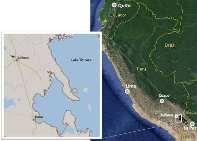 Map of Juliaca and Puno area Peru