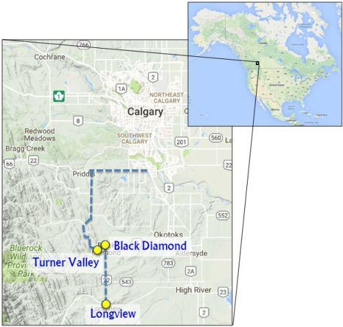 Map Turner Valley, Black Diamond Longview