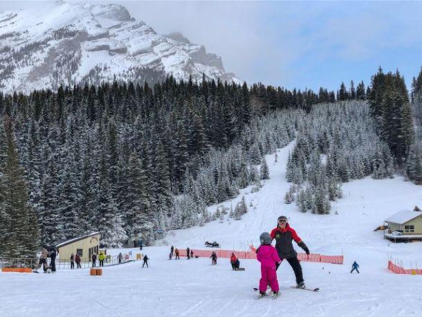 Kids learning to ski Mount Norquay Banff