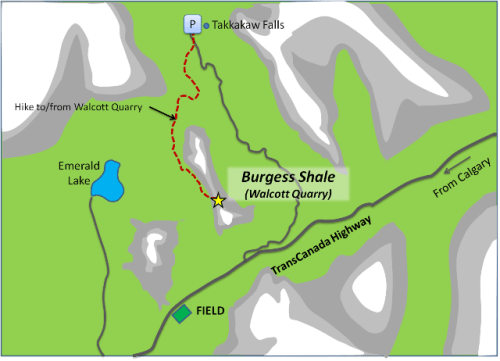 Map hike up to the Walcott Quarry from Takkakaw Falls parking area