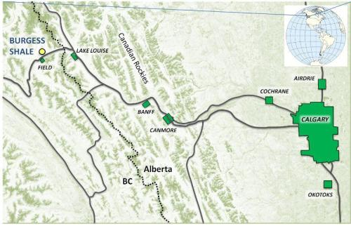 Location map of Burgess Shale formation relative to Calgary, Alberta, Canada