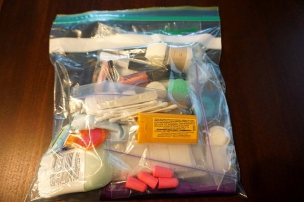 Packing carry on cosmetics in zip lock bag