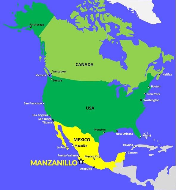 Manzanillo Map North America