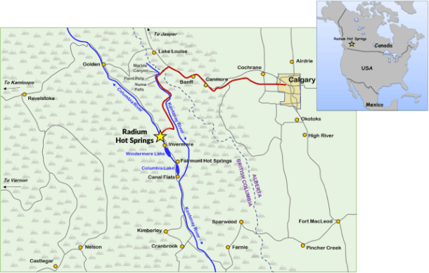 Map Radium Hot Springs