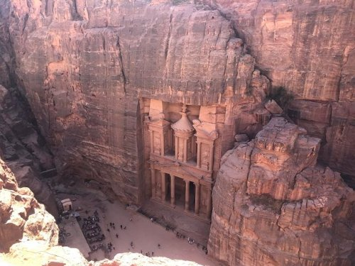 A birds eye view of the iconic Treasury at Petra