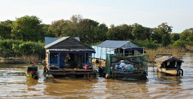 Row of homes on Tonle Sap lake Cambodia