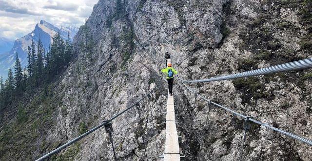 Overcoming fear of heights on Via Ferrata suspension bridge