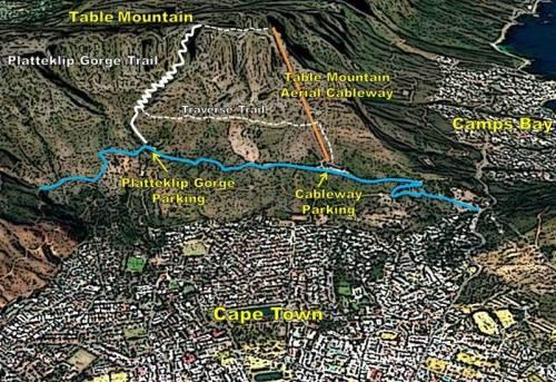 Map Table Mountain Platteklip Gorge Hiking