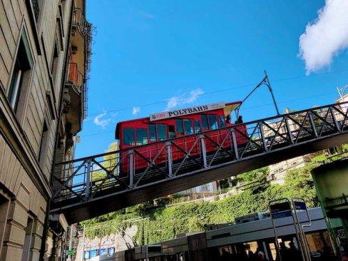 Polybahn Cogwheel train public transportation in Switzerland