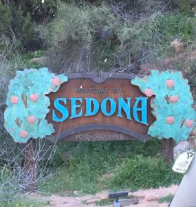 Welcome to Sedona sign as you Drive into Town