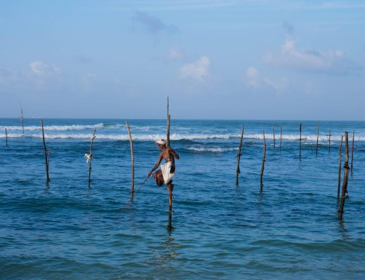 A Sri Lankan stilt fisherman.