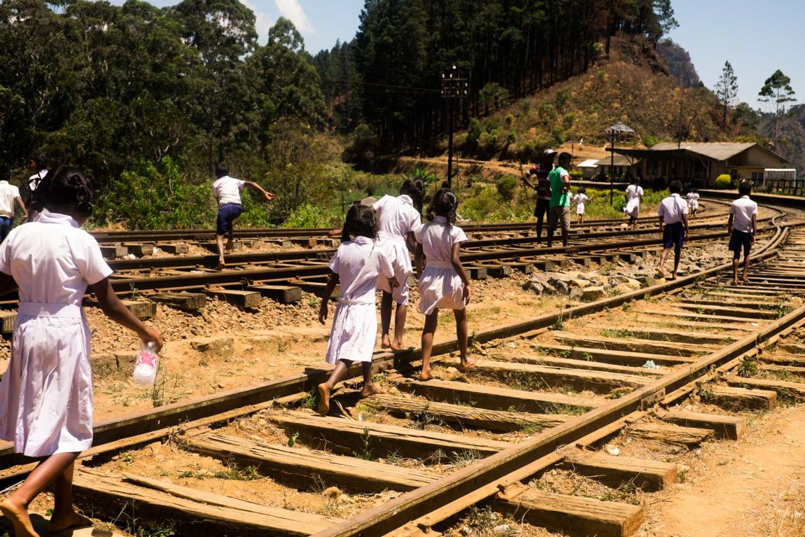 School children on the tracks at Idalgashinna railway station.