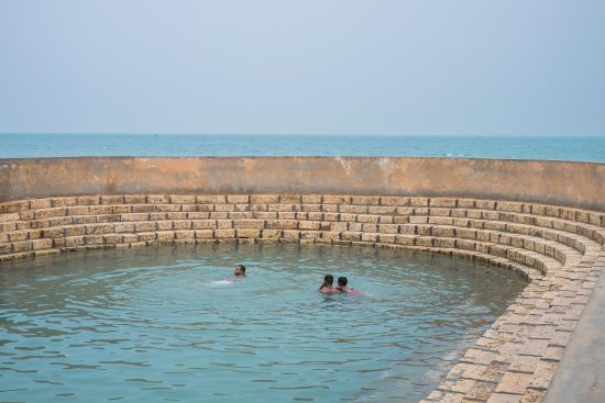 The Keerimalai sacred pool, overlooking the Palk Strait, which separates Sri Lanka and India.