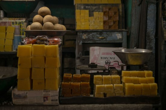 Sugar stacks in Devaraja Market Mysore.