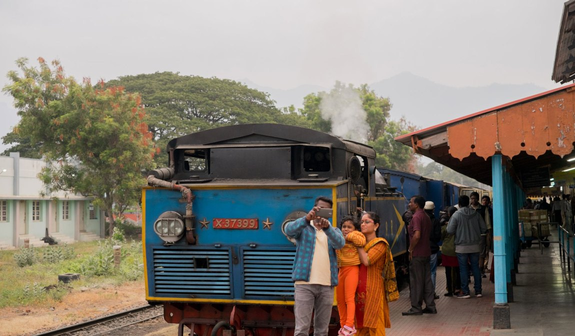 The steam train to Ooty at Mettupalayam Station