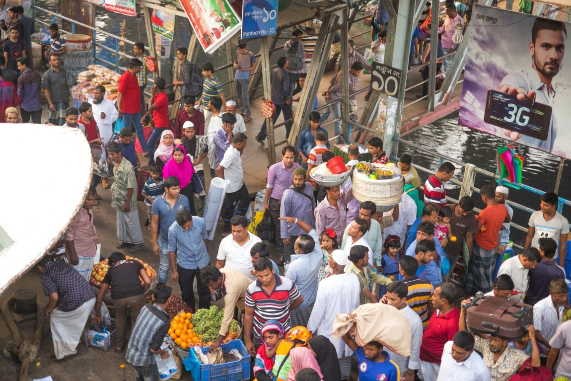 Crowds of people at Sadarghat in Dhaka.