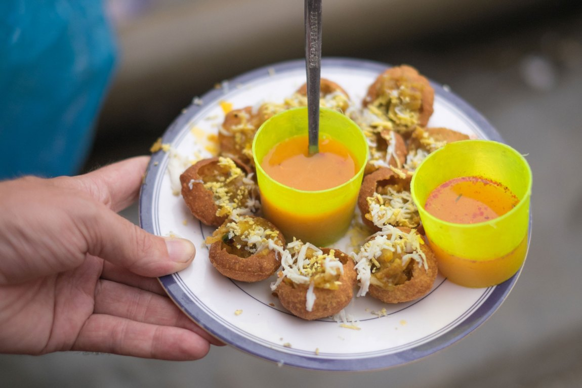 Fuchka on a dish in Bangladesh.