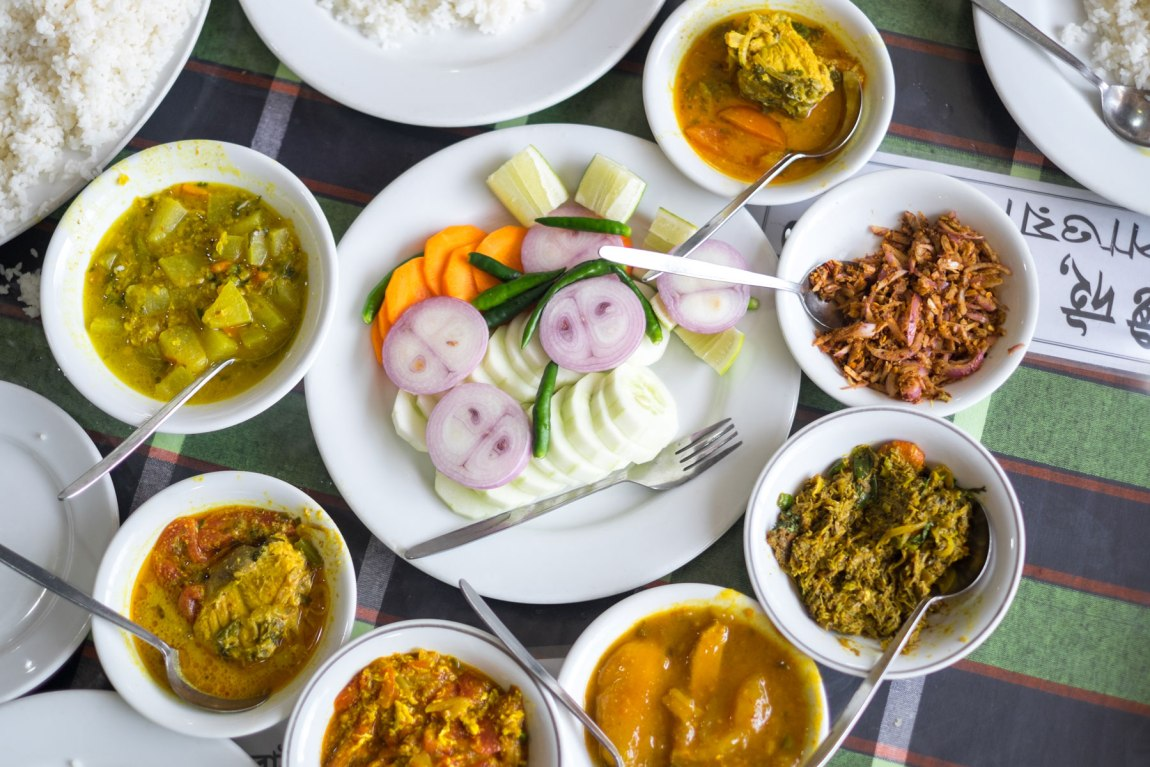 A table of different dishes in Bangladesh