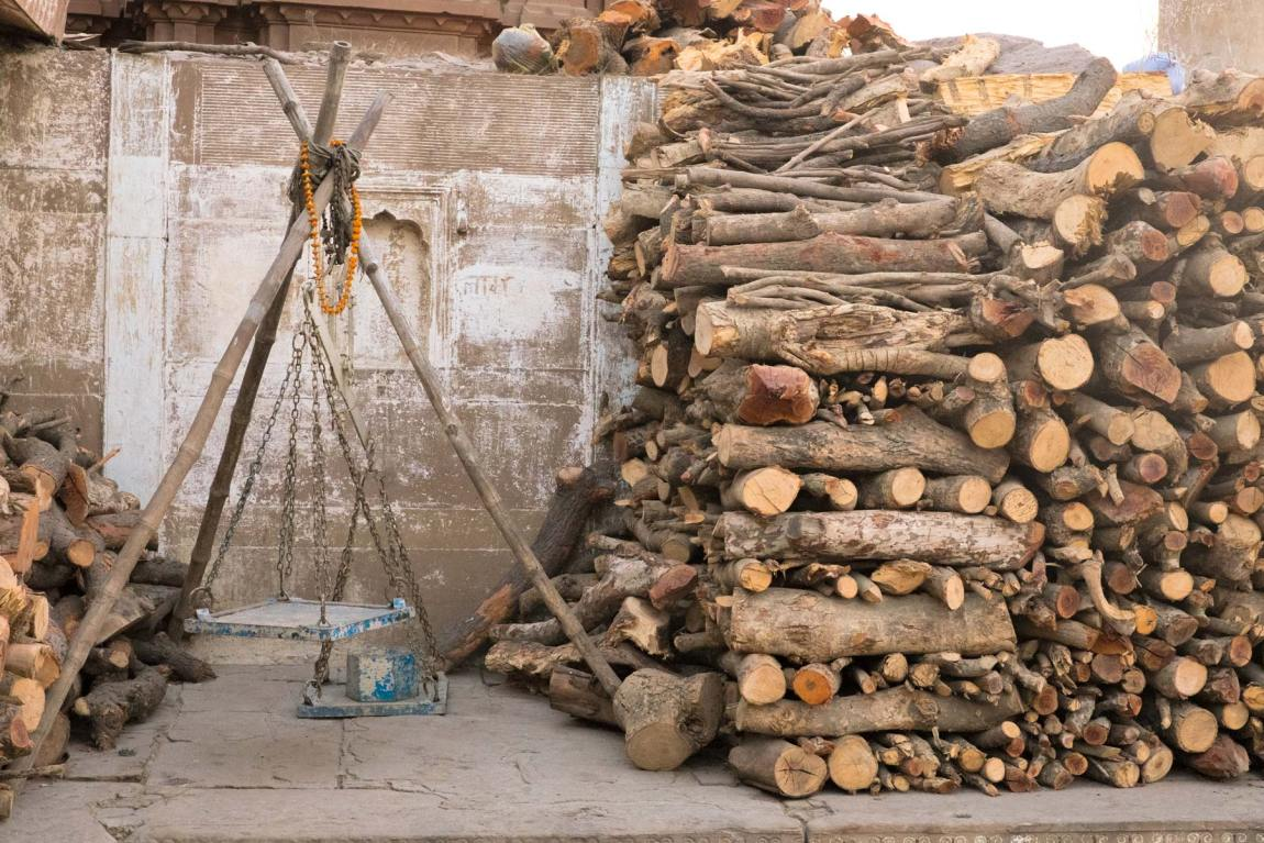 Stacks of wood in Varanasi