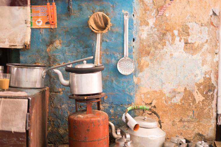 A kettle and tea making equipment in Varanasi