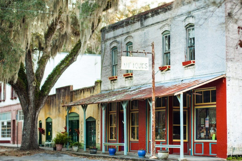The quaint downtown of Micanopy, FL full of antique shops and small galleries