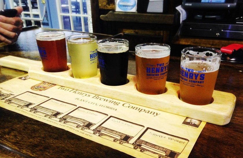 Try a sample beer flight at Two Henry's Brewing Co. in Plant City, FL