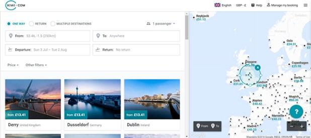 Skypicker search page