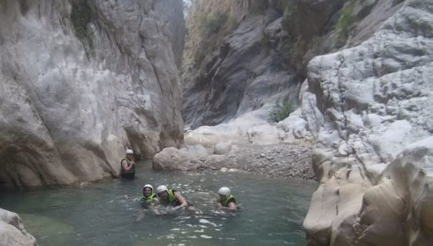 wading through the waters of Goynuk canyon
