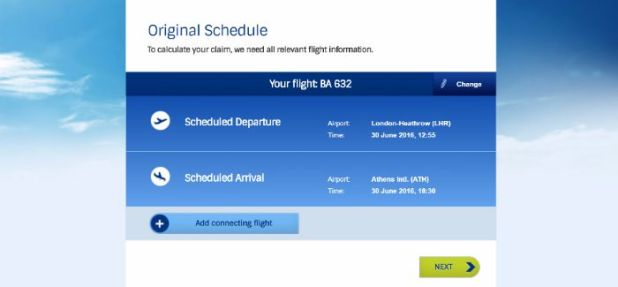 EUclaim flight details screen